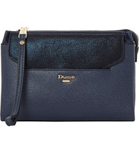 Dune Ennie Removable Envelope Pouch Clutch Bag Navy Metalic