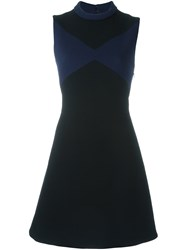 Victoria Beckham High Neck Tie Back Dress Blue