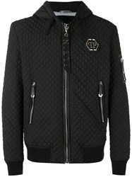 Philipp Plein Quilted Hooded Jacket Men Cotton Nylon Polyester Spandex Elastane Xl Black