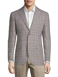 Lubiam Plaid Slim Sportcoat Light Brown