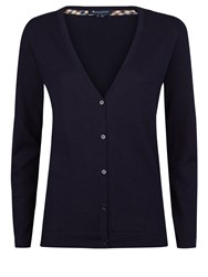 Aquascutum London Rowan Club Check Trim Cardigan Navy