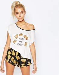 Minkpink So Cheesy Pyjama Top White