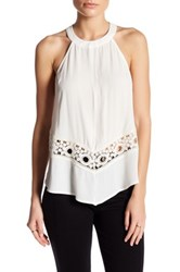 Astr High Neck Crochet Tank White
