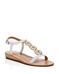 Jack Rogers Eve T Strap Metallic Heel Low Wedge Sandals White Gold