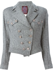 John Galliano Vintage Tweed Biker Jacket Grey