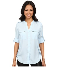 Calvin Klein Zipper Roll Poly Cdc Sleeve Cool Women's Blouse Blue