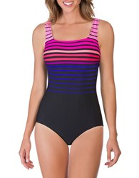 Reebok Ombre Striped One Piece Swimsuit Coral Orange