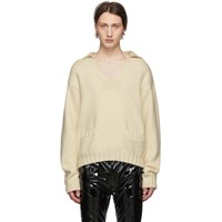 Maison Martin Margiela White Cashmere V Neck Sweater