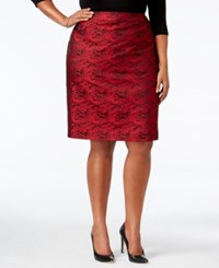 Calvin Klein Plus Size Floral Brocade Pencil Skirt Red Brocade