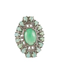 Bavna Chrysoprase And Diamond Oval Ring Sizes 6.5