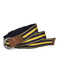 Polo Ralph Lauren Yellow And Navy Blue Double Stripe Buckle Belt