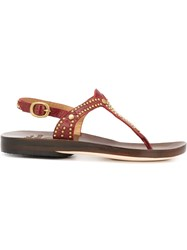 Calleen Cordero Studded Thong Sandals Red
