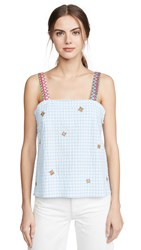 Mira Mikati Embroidered Strap Gingham Top Blue White