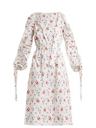 Teija Gathered Sleeve Floral Print Cotton Dress White Print