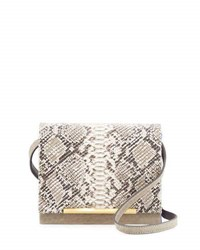 Brian Atwood Sadie Snake Embossed Leather Crossbody Bag Taupe