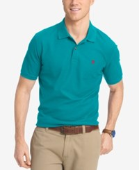 Izod Men's Pique Performance Heathered Polo Turquoise