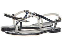 Dolce And Gabbana Thong Sandal With Anchor Star White Navy