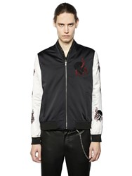 The Kooples Embroidered Techno Satin Bomber Jacket