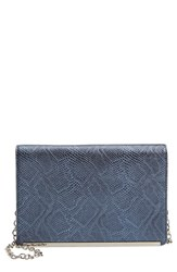 Halogen Flap Crossbody Bag Blue Blue Pearlized Snake