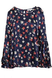Milly Woman Fluted Floral Print Silk Blend Satin Blouse Navy