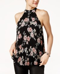 Lily Black Juniors' Pleated Floral Print Halter Top Black Olive