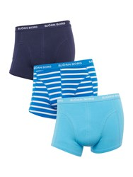 Bjorn Borg Men's 3 Pack Stripe And Solid Trunk Blue
