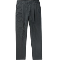 Officine Generale Drew Tapered Pleated Garment Dyed Lyocell And Cotton Blend Drawstring Trousers Gray
