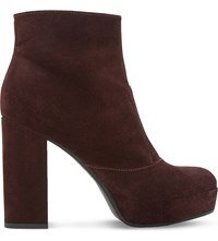 Dune Oklahoma Suede Platform Ankle Boots Berry Suede
