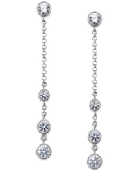 Arabella Swarovski Zirconia Station Linear Earrings In Sterling Silver 2 3 4 Ct. T.W. Clear