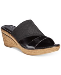 Easy Street Shoes Tuscany By Adagio Wedge Sandals Women's Black Patent