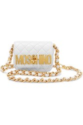 Moschino Quilted Leather Belt Bag White
