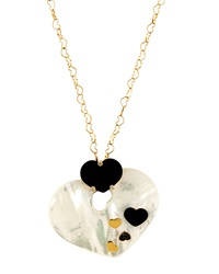 Nanis Heart Pendant Necklace W White And Black Diamond Melee
