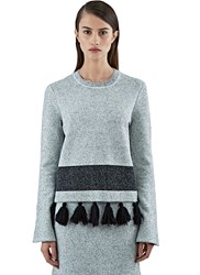 Proenza Schouler Flared Sleeve Tweed Knit Sweater White