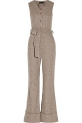 Co Belted Herringbone Wool Jumpsuit Mushroom