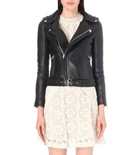 Maje Bocelui Leather Jacket Black