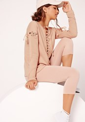 Missguided Extreme Lace Up Sweater Dusky Pink No