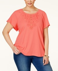 Karen Scott Plus Size Lace Applique Peasant Top Only At Macy's Coral Lining
