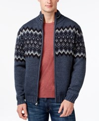 Weatherproof Diamond Jacquard Sherpa Lined Full Zip Mock Neck Sweater Navy