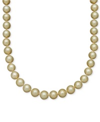 Belle De Mer Pearl Necklace 14K Gold Cultured Golden South Sea Pearl Strand 10 12Mm