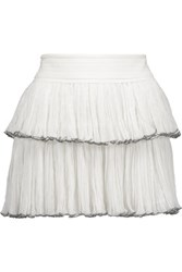 Isabel Marant Waida Tiered Silk Chiffon Mini Skirt Ivory