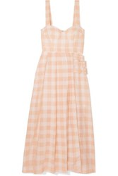 Alice Mccall Pink Moon Buckled Gingham Cotton Blend Midi Dress Blush