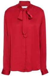 Amanda Wakeley Pussy Bow Satin Blouse Red