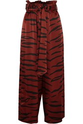 Ganni Iona Printed Stretch Silk Satin Wide Leg Pants Zebra Print