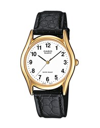 Casio Mtp 1154Pq 7Bef Gold Watch On Black Leather Strap