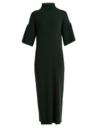 Ryan Roche High Neck Ribbed Knit Cashmere Dress Dark Green