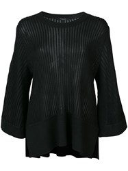 Derek Lam Ribbed Loose Fit Blouse Women Silk Cashmere L Black