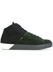 Leather Crown Colour Block Hi Top Sneakers Green