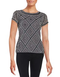 Adrianna Papell Sequined Roundneck Top Smoke