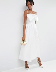 Asos Bridal Jumpsuit In Bonded Satin With Bow Detail Off White