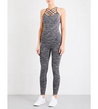 Pepper And Mayne Compression Stretch Jersey Jumpsuit Grey Space Dye